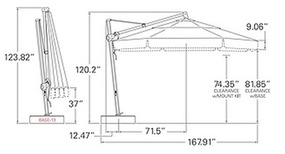 AKZ Octagon Cantilever Patio Umbrella Measurements