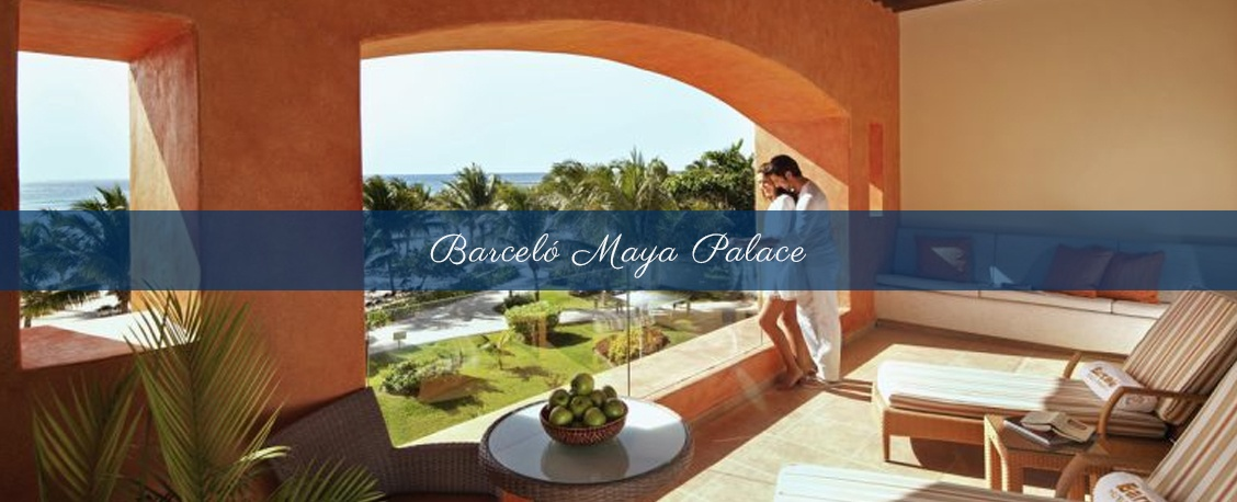 Newly weds at Barcelo Maya Palace during their Destination Wedding