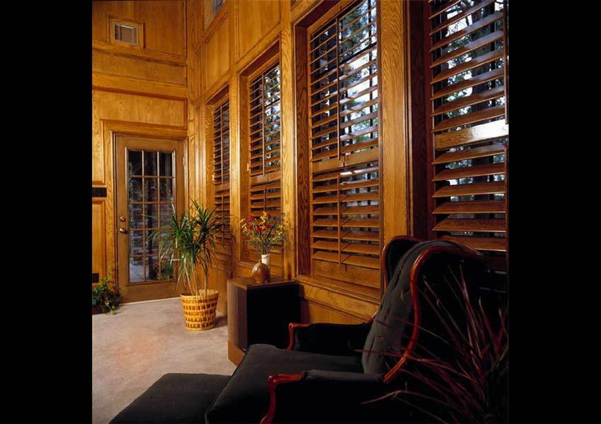 Interior Wood Window Shutters of a Wooden cabin - Joe Robbins Photography, Architecture Photographer