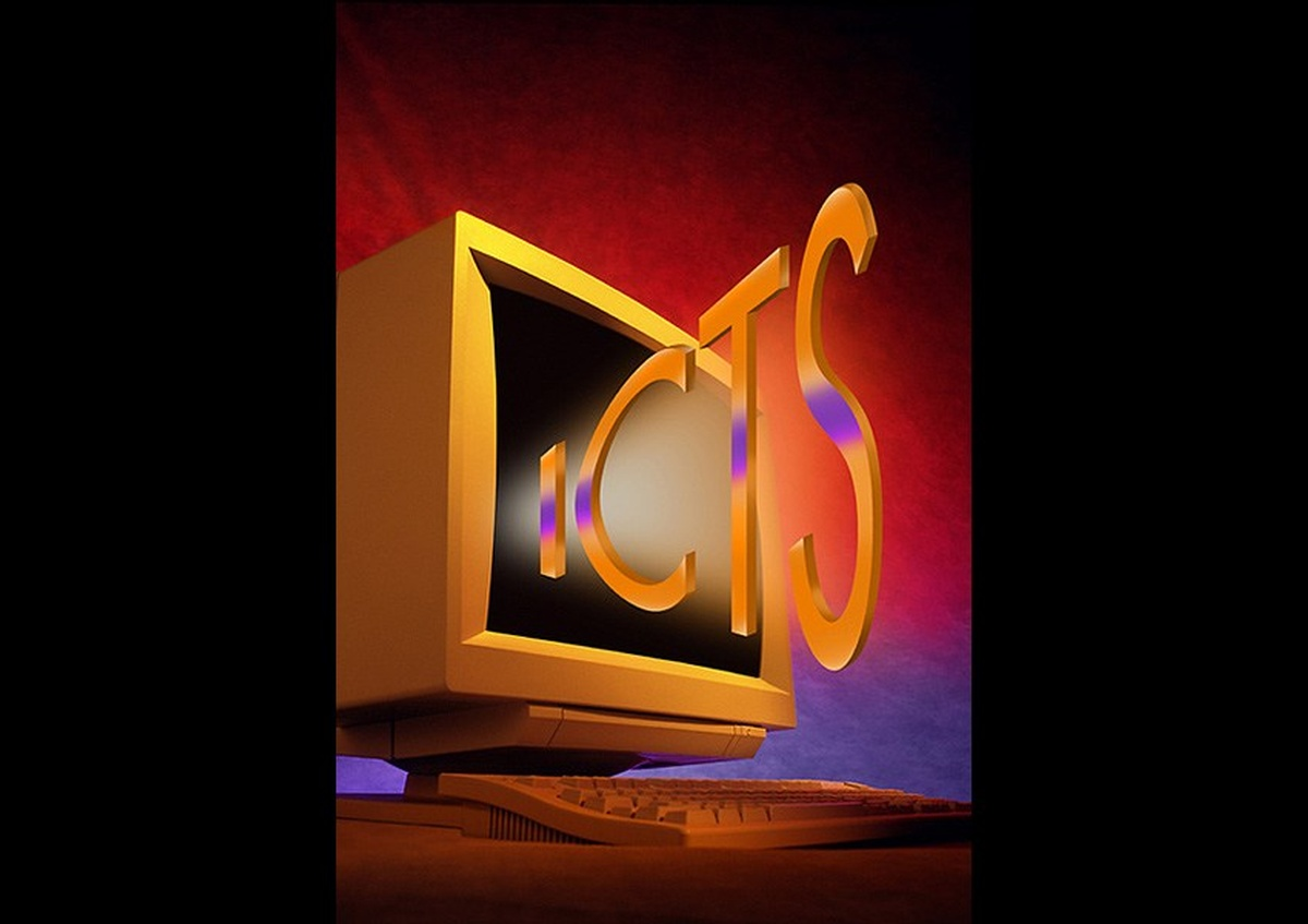 Animation of ICTS logo coming out off a computer screen