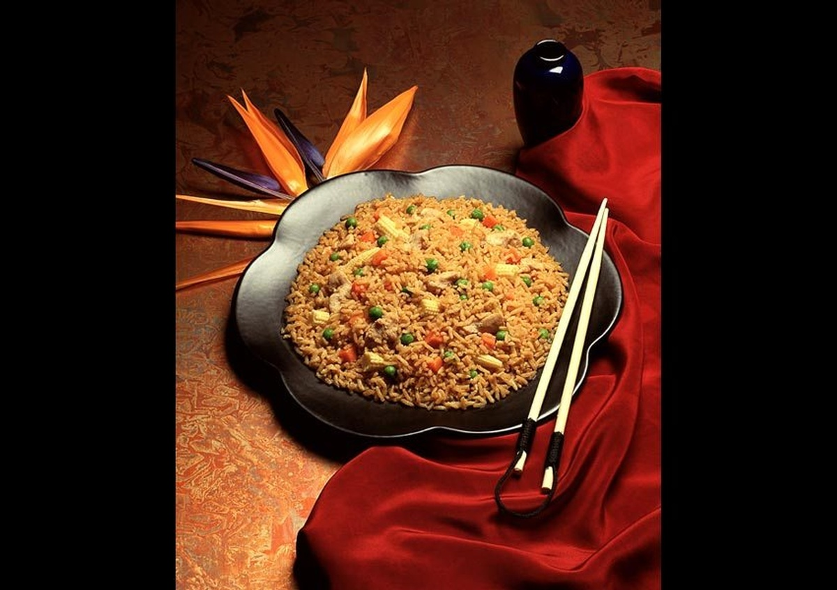 A plate full of Baby corn fried rice - Joe Robbins Food Photography Houston TX