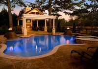 An Outdoor Gazebo facing the pool - Joe Robbins Photography , Architectural Photographer