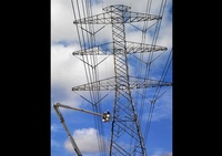 Electrical cable tower photographed by Houston Commercial Photographer