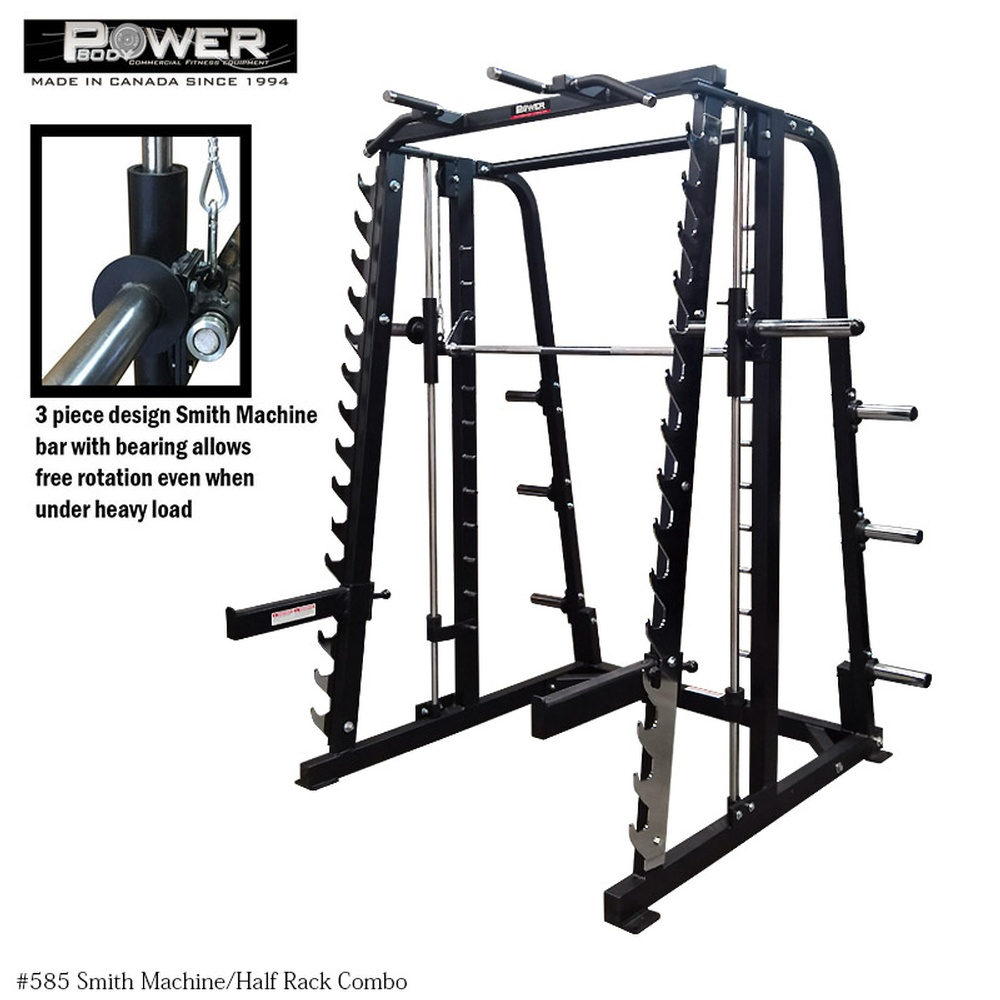 Power Body Fitness Inc Products Free Weight Racksand Smith Machines 00585 Smith Machine And Half Rack Combo