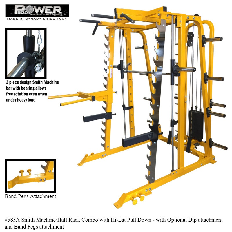 Made in Canada Smith Machine with Half Rack and High Lat and Low Row Combo