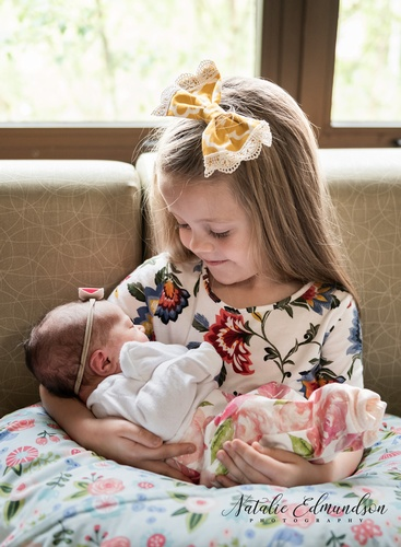 Infant Baby and Elder Sister Photography Captured by Natalie Edmundson