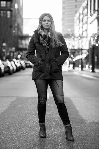 Grayscale Photo of Woman in Jacket -  Photography Services Minneapolis by Mode T Productions