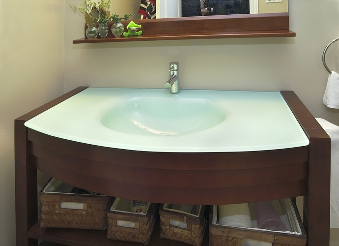 White and brown Bathroom Sink