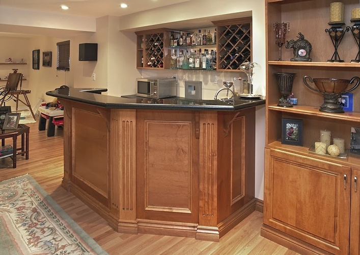 Modern Home Bar Counter in Oakville by Finished Basements