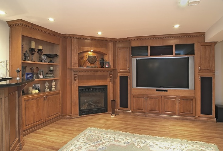 Living room cabinets in Oakville by Finished Basements