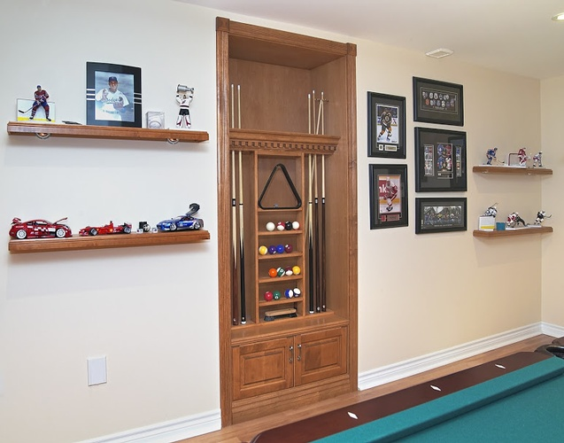 Billiards Cues and Balls set in wall wood cabinet by Finished Basements  in Oakville