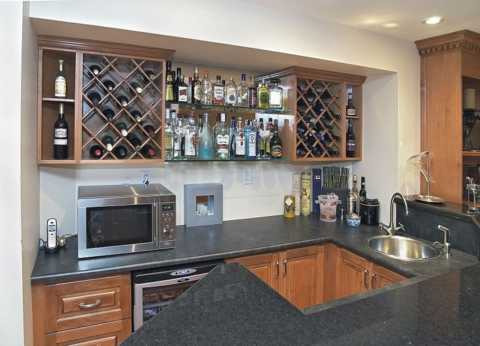 Modern Home Bar with an Integrated Sink