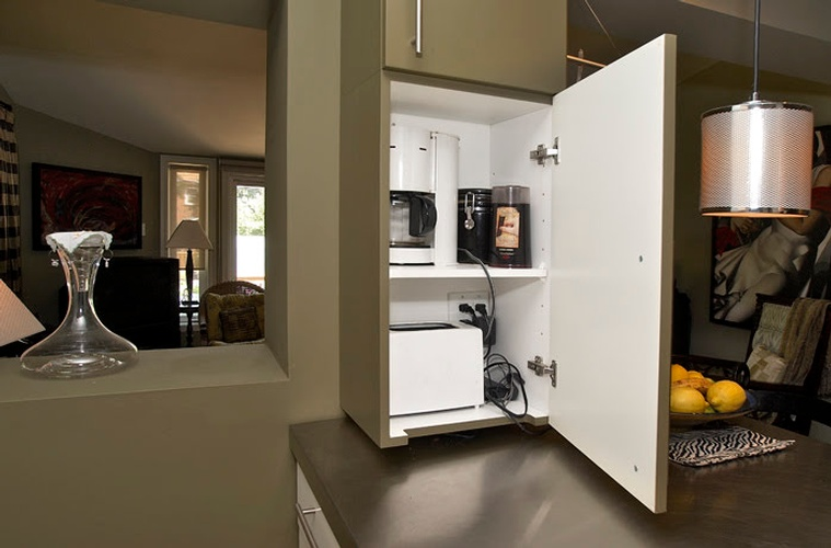 Open Storage Cabinet in Kitchen