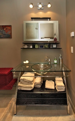 Beautiful Clear Glass Bathroom Sink by Finished Basements