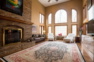 Living Room with Furniture and Fireplace - Real Estate Photography Schaumburg by Visual Filmworks