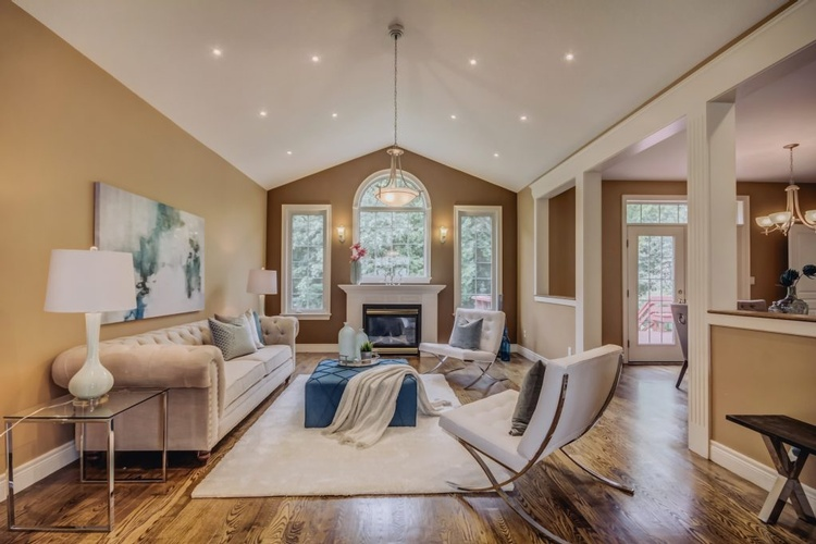 Living Room with Modern Furniture - Home Staging Services Ajax ON by Impressive Staging