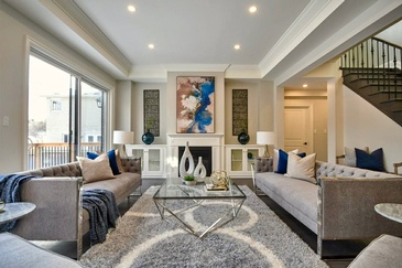 Elegant Living Room Staging Pickering by Impressive Staging