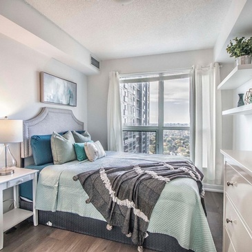 Elegant Staged Bedroom by Impressive Staging - Certified Home Stager Scarborough