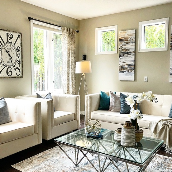 Beige Furniture Set in Living Room - Home Staging Consultation Services Toronto by Impressive Staging