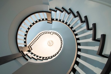 Top view of Modern Spiral Staircase designed by Oakville Architect - John Willmott Architect, Inc.