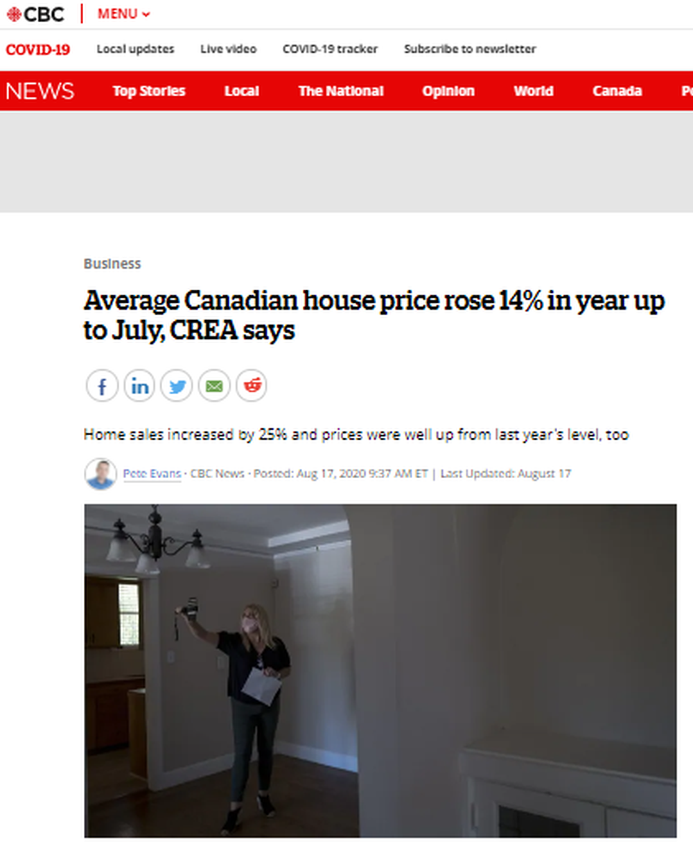 Average Canadian house price rose 14% in year up to July, CREA says