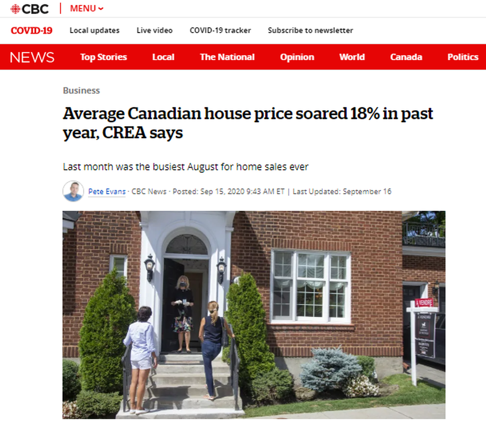 Average Canadian house price soared 18% in past year, CREA says