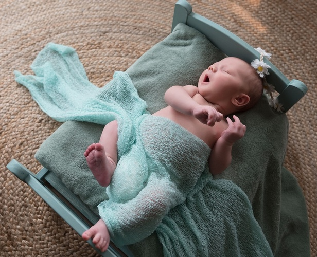 Cute Baby Sleeping on Blue Prop Bed - Newborn Photography Port Coquitlam BC by Eve Parisa