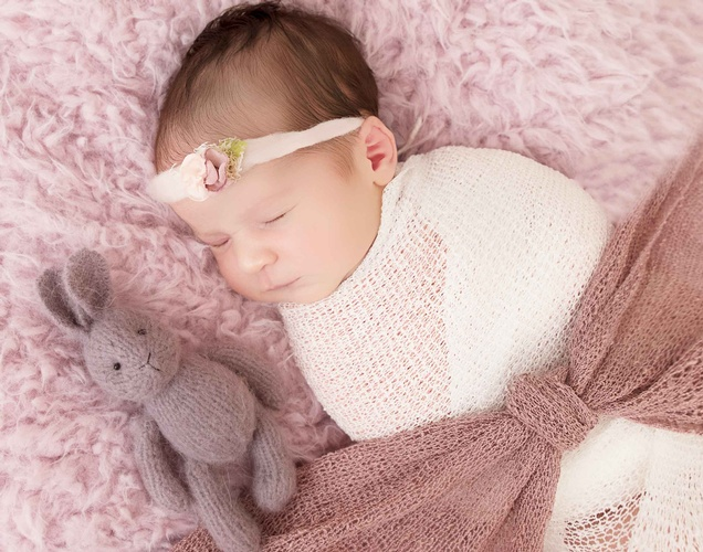 Adorable Baby sleeping with Soft Toys - Newborn Photography Port Coquitlam by Eve Parisa