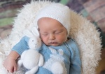 Newborn Baby with Soft Toy - Newborn Photography North Vancouver by Eve Parisa Photography