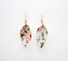 White Peach Floral Leaf Earrings