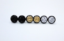 Mini Black Druzy Trio 1