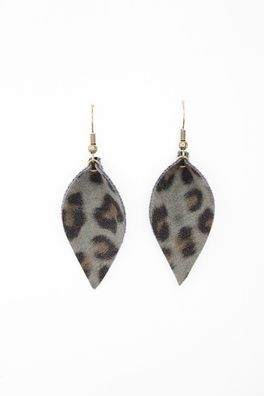 Soft Grey Leopard Leaf Earrings