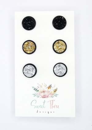 Sweet Three Designs - Medium Druzy Trio 2