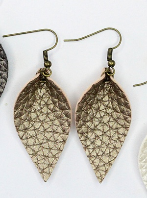 Sweet three design - Textured Gold Leaf Earrings