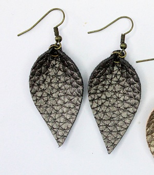 Sweet Three Designs - Textured Charcoal Leaf Earrings