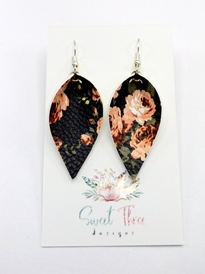 Sweet Three Designs - Black Peach Floral Leaf Earrings