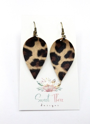 Sweet Three Designs - Leopard Leaf Earrings