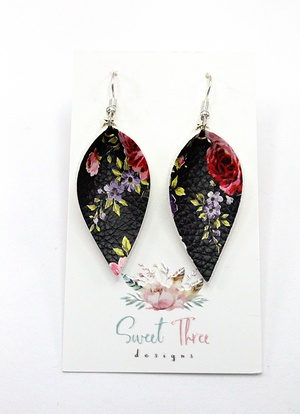 Sweet Three Designs - Black and Pink Floral Leaf Earrings