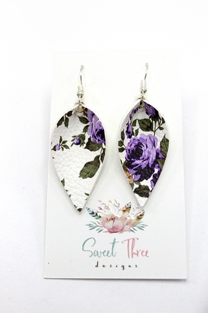 Sweet Three Designs - White and Purple Floral Leaf Earrings