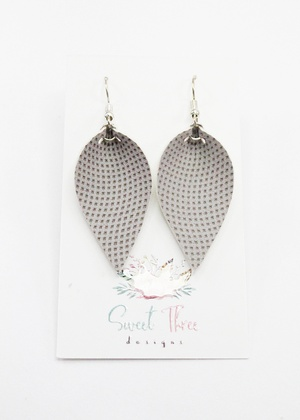 Sweet Three Designs - Light Gray Leaf Earrings