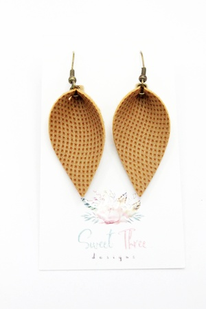Sweet three design - Rich Brown Leaf Earrings