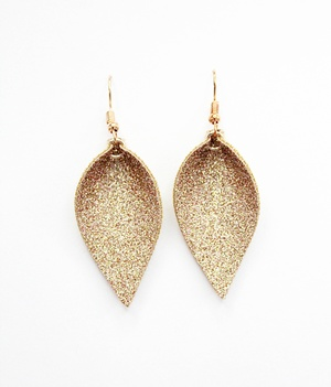 Sweet Three Designs - Rose Gold Glitter Leaf Earrings
