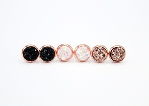 Sweet Three Designs - Medium Rose Gold Druzy Trio