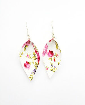 Sweet Three Designs - White and Pink Floral Leaf Earrings