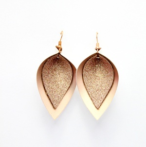 Sweet Three Designs - Rose Gold Glitter on Rose Gold Double Leaf Earrings