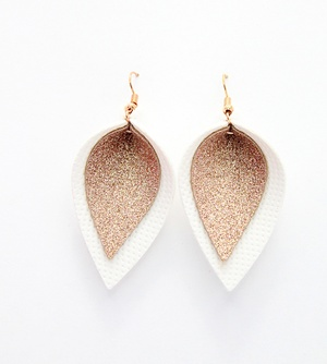 Sweet Three Designs - Rose Gold Glitter on White Double Leaf Earrings