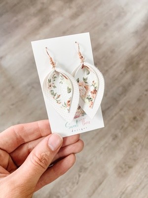 Sweet Three Designs - Floral on White Double Leaf Earrings
