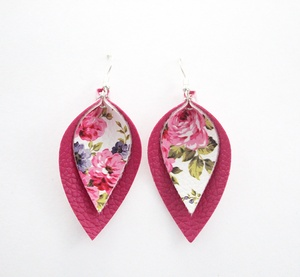 Sweet Three Designs - Floral on Pink Double Leaf Earrings
