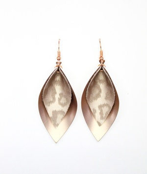 Sweet Three Designs - Rose Gold Leopard on Rose Gold Double Leaf Earrings