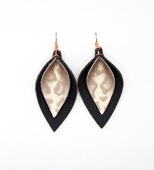 Sweet Three Designs - Rose Gold Leopard on Black Double Leaf Earrings